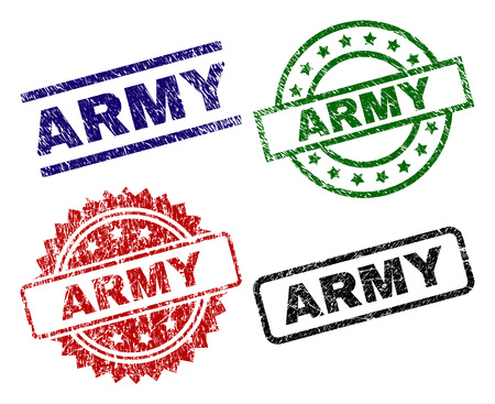 ARMY seal prints with corroded surface. Black, green,red,blue vector rubber prints of ARMY tag with corroded style. Rubber seals with circle, rectangle, medal shapes.