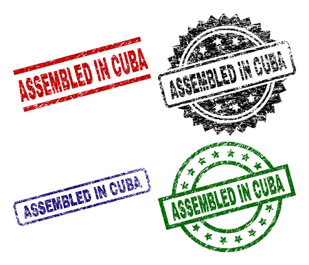 ASSEMBLED IN CUBA seal imprints with damaged texture. Black, green,red,blue vector rubber prints of ASSEMBLED IN CUBA text with scratched texture. Rubber seals with round, rectangle, medal shapes.