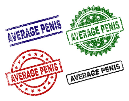 AVERAGE PENIS seal prints with distress style. Black, green,red,blue vector rubber prints of AVERAGE PENIS caption with retro style. Rubber seals with circle, rectangle, rosette shapes.