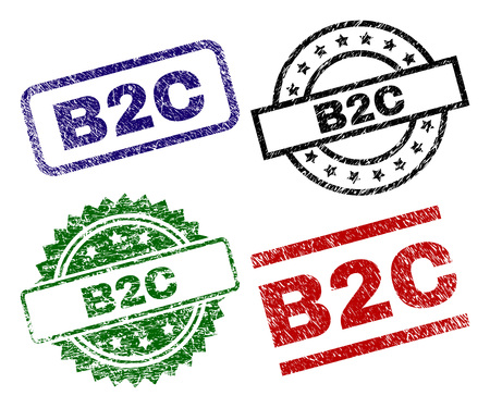 B2C seal prints with damaged texture. Black, green,red,blue vector rubber prints of B2C title with scratched texture. Rubber seals with circle, rectangle, medal shapes.  イラスト・ベクター素材