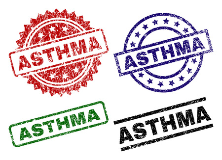 ASTHMA seal prints with corroded style. Black, green,red,blue vector rubber prints of ASTHMA text with corroded style. Rubber seals with round, rectangle, rosette shapes.