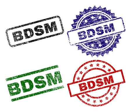 BDSM seal prints with corroded style. Black, green,red,blue vector rubber prints of BDSM text with corroded surface. Rubber seals with round, rectangle, rosette shapes.
