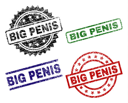 BIG PENIS seal prints with damaged surface. Black, green,red,blue vector rubber prints of BIG PENIS title with retro surface. Rubber seals with circle, rectangle, medal shapes.