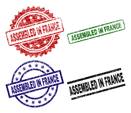 ASSEMBLED IN FRANCE seal prints with damaged surface. Black, green,red,blue vector rubber prints of ASSEMBLED IN FRANCE title with retro surface. Rubber seals with round, rectangle, rosette shapes.
