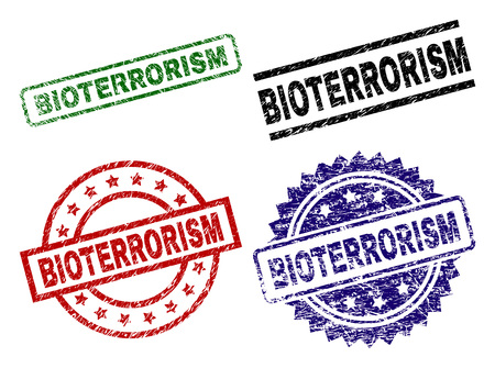 BIOTERRORISM seal stamps with distress surface. Black, green,red,blue vector rubber prints of BIOTERRORISM text with dust surface. Rubber seals with circle, rectangle, medallion shapes.