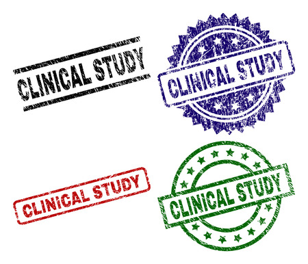 CLINICAL STUDY seal prints with damaged surface. Black, green,red,blue vector rubber prints of CLINICAL STUDY tag with unclean surface. Rubber seals with circle, rectangle, rosette shapes.