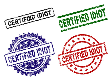 CERTIFIED IDIOT seal prints with damaged surface. Black, green,red,blue vector rubber prints of CERTIFIED IDIOT label with unclean surface. Rubber seals with circle, rectangle, medallion shapes.