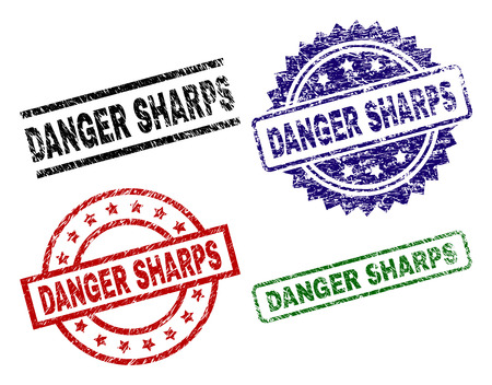 DANGER SHARPS seal prints with damaged surface. Black, green,red,blue vector rubber prints of DANGER SHARPS label with corroded surface. Rubber seals with circle, rectangle, rosette shapes.