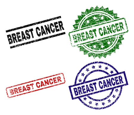 BREAST CANCER seal prints with damaged surface. Black, green,red,blue vector rubber prints of BREAST CANCER caption with retro surface. Rubber seals with circle, rectangle, medal shapes.