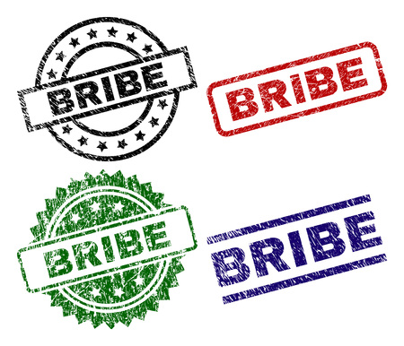 BRIBE seal prints with damaged texture. Black, green,red,blue vector rubber prints of BRIBE title with scratched texture. Rubber seals with round, rectangle, rosette shapes. Vektorové ilustrace