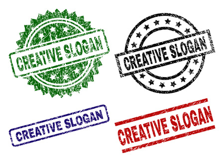 CREATIVE SLOGAN seal prints with distress style. Black, green,red,blue vector rubber prints of CREATIVE SLOGAN caption with dust surface. Rubber seals with circle, rectangle, rosette shapes. Çizim