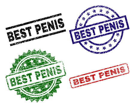 BEST PENIS seal prints with corroded style. Black, green,red,blue vector rubber prints of BEST PENIS text with corroded surface. Rubber seals with circle, rectangle, rosette shapes.