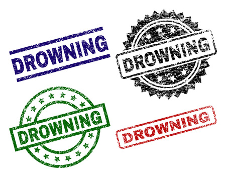 DROWNING seal stamps with corroded texture. Black, green,red,blue vector rubber prints of DROWNING title with corroded texture. Rubber seals with round, rectangle, medal shapes. Çizim