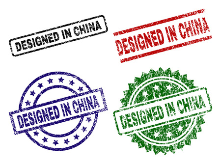 DESIGNED IN CHINA seal imprints with damaged texture. Black, green,red,blue vector rubber prints of DESIGNED IN CHINA tag with scratched texture. Rubber seals with round, rectangle, medallion shapes.