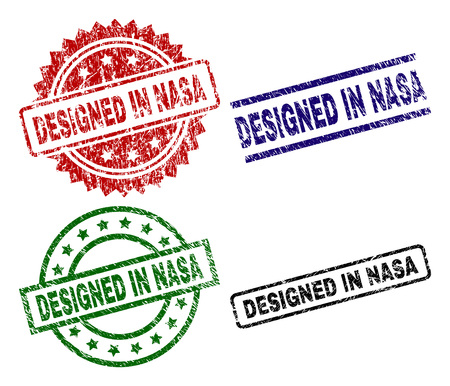 DESIGNED IN NASA seal imprints with corroded texture. Black, green,red,blue vector rubber prints of DESIGNED IN NASA title with corroded surface. Rubber seals with circle, rectangle, medallion shapes. Illustration