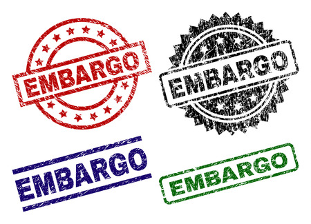 EMBARGO seal prints with corroded surface. Black, green,red,blue vector rubber prints of EMBARGO title with corroded style. Rubber seals with circle, rectangle, rosette shapes.