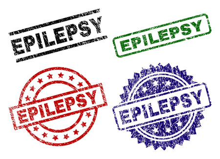 EPILEPSY seal prints with damaged style. Black, green,red,blue vector rubber prints of EPILEPSY caption with dust style. Rubber seals with round, rectangle, medallion shapes. Illustration