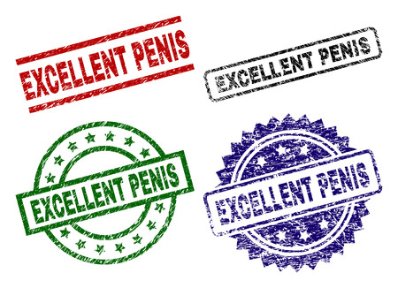 EXCELLENT PENIS seal prints with corroded style. Black, green,red,blue vector rubber prints of EXCELLENT PENIS title with corroded texture. Rubber seals with circle, rectangle, medal shapes.
