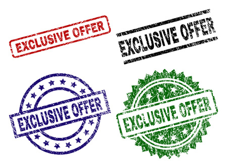 EXCLUSIVE OFFER seal prints with corroded style. Black, green,red,blue vector rubber prints of EXCLUSIVE OFFER tag with dust style. Rubber seals with round, rectangle, medal shapes.