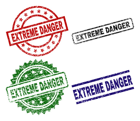 EXTREME DANGER seal prints with corroded texture. Black, green,red,blue vector rubber prints of EXTREME DANGER caption with corroded texture. Rubber seals with round, rectangle, medal shapes.