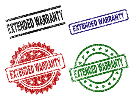 EXTENDED WARRANTY seal prints with distress texture. Black, green,red,blue vector rubber prints of EXTENDED WARRANTY title with grunge texture. Rubber seals with circle, rectangle, medal shapes. Illustration