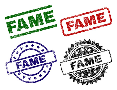 FAME seal prints with damaged style. Black, green,red,blue vector rubber prints of FAME text with grunge texture. Rubber seals with round, rectangle, rosette shapes. Illustration