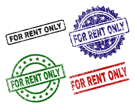 FOR RENT ONLY seal prints with distress surface. Black, green,red,blue vector rubber prints of FOR RENT ONLY caption with dust surface. Rubber seals with round, rectangle, medal shapes. Stock Illustratie