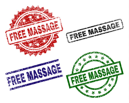 FREE MASSAGE seal prints with damaged texture. Black, green,red,blue vector rubber prints of FREE MASSAGE text with dirty style. Rubber seals with round, rectangle, rosette shapes. Illustration