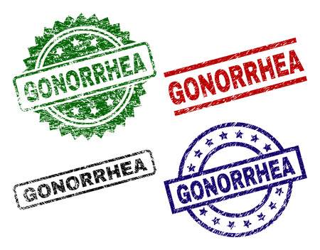 GONORRHEA seal prints with corroded style. Black, green,red,blue vector rubber prints of GONORRHEA tag with grunge style. Rubber seals with circle, rectangle, rosette shapes.