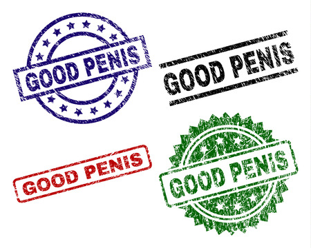 GOOD PENIS seal prints with distress surface. Black, green,red,blue vector rubber prints of GOOD PENIS text with dirty surface. Rubber seals with round, rectangle, rosette shapes.