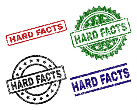 HARD FACTS seal prints with corroded surface. Black, green,red,blue vector rubber prints of HARD FACTS label with corroded surface. Rubber seals with round, rectangle, medallion shapes.