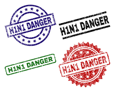 H1N1 DANGER seal imprints with corroded texture. Black, green,red,blue vector rubber prints of H1N1 DANGER title with scratched texture. Rubber seals with circle, rectangle, rosette shapes.