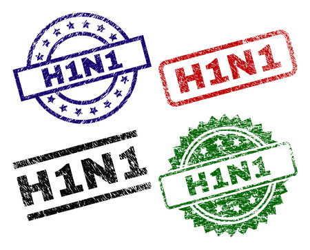 H1N1 seal prints with corroded style. Black, green,red,blue vector rubber prints of H1N1 caption with retro style. Rubber seals with circle, rectangle, medallion shapes.