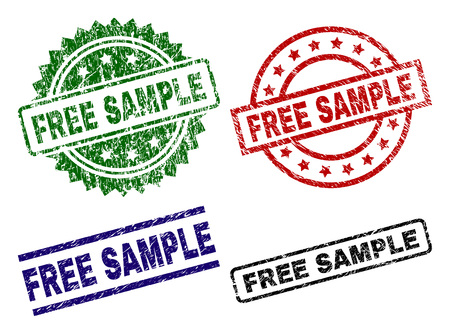 FREE SAMPLE seal prints with distress surface. Black, green,red,blue vector rubber prints of FREE SAMPLE tag with grunge style. Rubber seals with round, rectangle, rosette shapes.