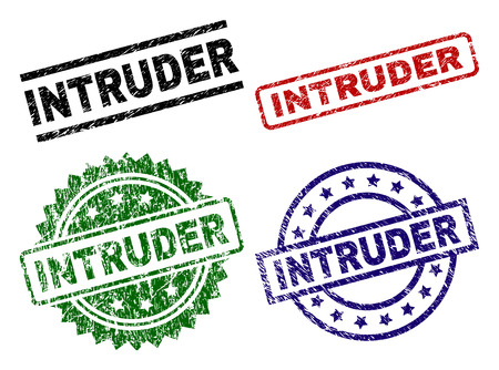 INTRUDER seal prints with damaged surface. Black, green,red,blue vector rubber prints of INTRUDER title with retro surface. Rubber seals with circle, rectangle, rosette shapes.