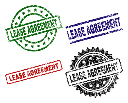 LEASE AGREEMENT seal prints with corroded style. Black, green,red,blue vector rubber prints of LEASE AGREEMENT label with corroded texture. Rubber seals with round, rectangle, medallion shapes.