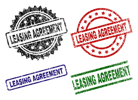 LEASING AGREEMENT seal prints with damaged style. Black, green,red,blue vector rubber prints of LEASING AGREEMENT text with scratched style. Rubber seals with round, rectangle, medallion shapes. Ilustração
