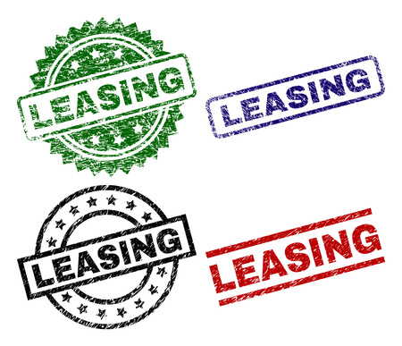 LEASING seal prints with distress surface. Black, green,red,blue vector rubber prints of LEASING caption with dirty surface. Rubber seals with circle, rectangle, rosette shapes.