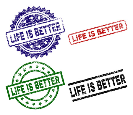 LIFE IS BETTER seal prints with damaged surface. Black, green,red,blue vector rubber prints of LIFE IS BETTER tag with unclean surface. Rubber seals with circle, rectangle, rosette shapes. Vetores