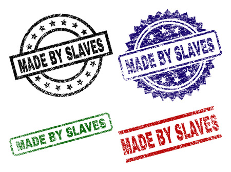 MADE BY SLAVES seal prints with distress surface. Black, green,red,blue vector rubber prints of MADE BY SLAVES title with dirty surface. Rubber seals with circle, rectangle, rosette shapes.