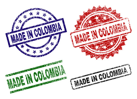 MADE IN COLOMBIA seal prints with corroded style. Black, green,red,blue vector rubber prints of MADE IN COLOMBIA caption with corroded texture. Rubber seals with circle, rectangle, rosette shapes.