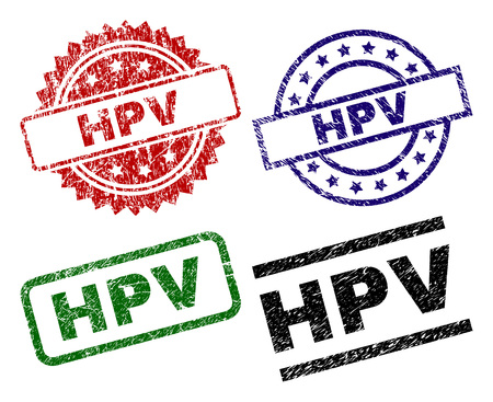 HPV seal prints with corroded texture. Black, green,red,blue vector rubber prints of HPV text with grunge texture. Rubber seals with round, rectangle, rosette shapes. Illustration