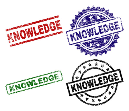 KNOWLEDGE seal prints with damaged style. Black, green,red,blue vector rubber prints of KNOWLEDGE label with dust style. Rubber seals with circle, rectangle, medallion shapes.