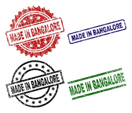 MADE IN BANGALORE seal prints with distress texture. Black, green,red,blue vector rubber prints of MADE IN BANGALORE title with corroded texture. Rubber seals with round, rectangle, medal shapes.