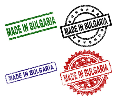 MADE IN BULGARIA seal prints with damaged surface. Black, green,red,blue vector rubber prints of MADE IN BULGARIA caption with dirty surface. Rubber seals with circle, rectangle, medal shapes.