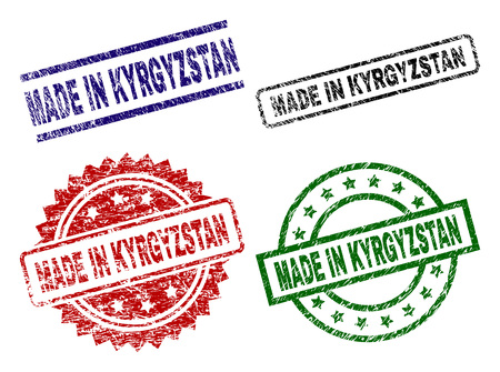 MADE IN KYRGYZSTAN seal prints with corroded surface. Black, green,red,blue vector rubber prints of MADE IN KYRGYZSTAN label with corroded style. Rubber seals with circle, rectangle, rosette shapes.