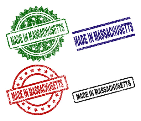 MADE IN MASSACHUSETTS seal prints with damaged texture. Black, green,red,blue vector rubber prints of MADE IN MASSACHUSETTS title with corroded texture. Rubber seals with circle, rectangle,  イラスト・ベクター素材