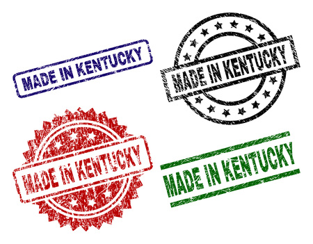 MADE IN KENTUCKY seal prints with damaged surface. Black, green,red,blue vector rubber prints of MADE IN KENTUCKY title with scratched surface. Rubber seals with circle, rectangle, rosette shapes.