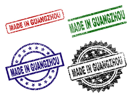 MADE IN GUANGZHOU seal imprints with damaged texture. Black, green,red,blue vector rubber prints of MADE IN GUANGZHOU tag with unclean texture. Rubber seals with round, rectangle, medal shapes.