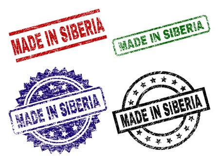 MADE IN SIBERIA seal prints with damaged texture. Black, green,red,blue vector rubber prints of MADE IN SIBERIA label with unclean texture. Rubber seals with circle, rectangle, medal shapes.